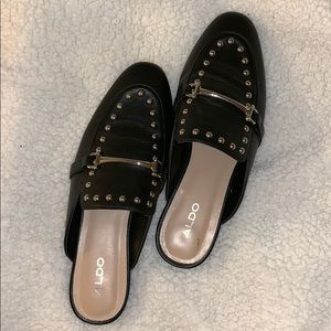 Aldo Black Leather Studded Mules